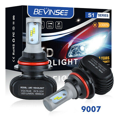 Pair 9007 HB5 LED Headlight Kit Lamp Bulbs 6500K High Power 8000LM High/Low Beam