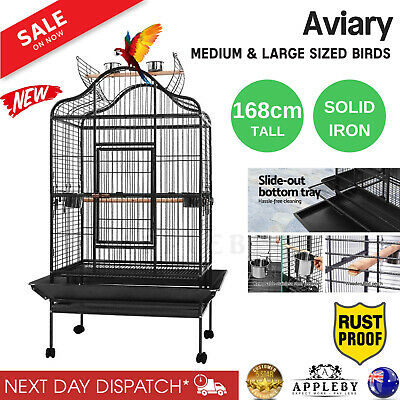 Large 183cm Bird Cage Canary Heavy Duty Parrot Budgie Pet Aviary Open Roof Black