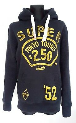 Zin Zab by Superdry mens hoodie size S black with yellow writing