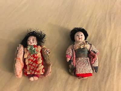 Dolls Japanese (2)  Rare Antique Vintage- REDUCED PERFECT COLLECTION SHIPS FREE