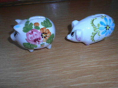 Two Small Ceramic Pig Money Boxes