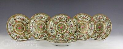Unusual Set Of 6 Antique Chinese Famille Rose Porcelain Plates With Gilt