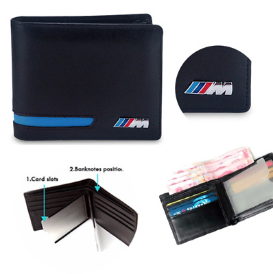 BMW M Sport Leather Wallet Coin Purse Holder Msport Blue Red Mens Accessory New