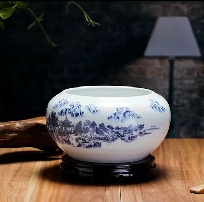Exquisite Weighted Chinese Display Bowl-Pavilion With Mountains In Background
