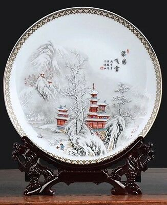 Exquisite Chinese Display Plate-3 Red Pagodas Snowy Mountains In Background