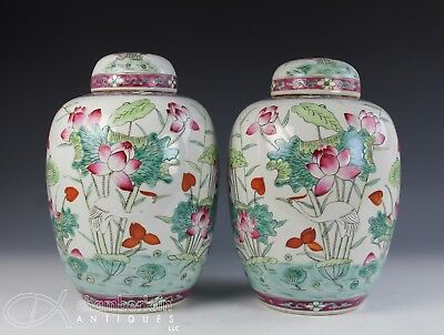 Pair Of Old Chinese Porcelain Covered Jars Vases With Lotus