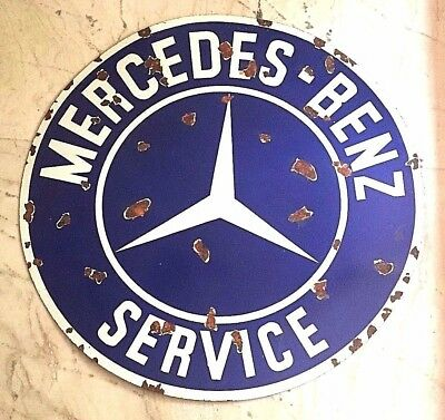 Vintage Porcelain Enamel MERCEDES BENZ Round SIGN 42 inch diameter 2 sided