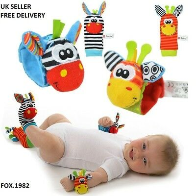 Sozzy Baby Infant Rattle Foot Socks and Wrist Toys Animals 0