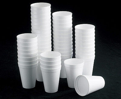 7oz 10oz 12oz WHITE FOAM / POLYSTYRENE HOT TEA DISPOSABLE CUP GLASS PARTY CUPS