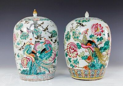 Large Pair Of Old Chinese Porcelain Covered Jars Vases With Birds + Flowers