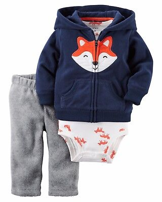 L@@K 18 month New with all tags Carter's Infant Boys 3 Pc. Fox Fleece Cardigan