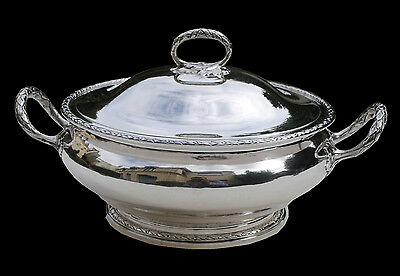 ANTIQUE FRENCH STERLING SILVER VEGETABLE TUREEN LOUIS XVI 907 grams