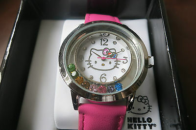Hello Kitty By Sanrio Wristwatch - Pink Leather Band Silver Case Colored Gems
