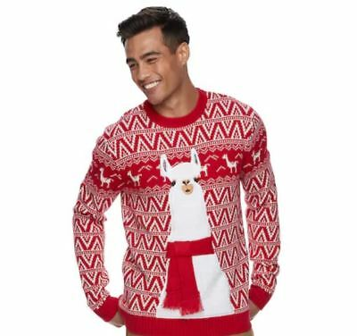 NWT Men's Llama Ugly Christmas Sweater Choose Size Red