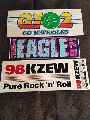 Vintage Retired Q102, The Eagle And 98 Kzew Bumper Stickers