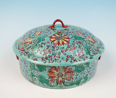 Vintage Chinese Famille Rose Enameled Porcelain Covered Dish Bowl Pot Tureen