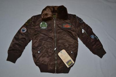 Authentic Alpha Boys Maverick Jacket Patches Cocoa Brown Youth Ys 8 Small New