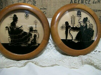 """2 Wood & Glass,Vintage Angel Silhouettes Pictures 6 1/2"""" Wide SO CUTE!!! RARE!"""