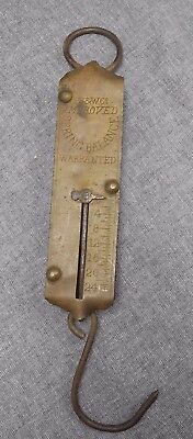 VINTAGE ANTIQUE PS&W Co BRASS FACE HANGING HOOK 24lb SPRING SCALE