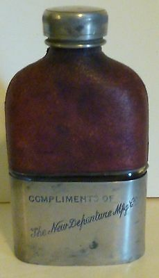 Rare Stainless Steel, Leather & Glass Flask-Compliments New Departure Mfg 1900's