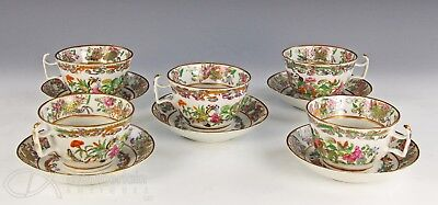Fine Set Of 5 Antique Chinese Famille Rose Porcelain Large Cups With  Plates