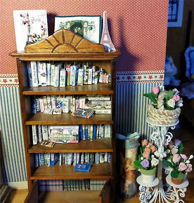 85 Miniature Books 30 Bookmark & Library Wood Bookshelf 117pc Set Dollhouse 1:12