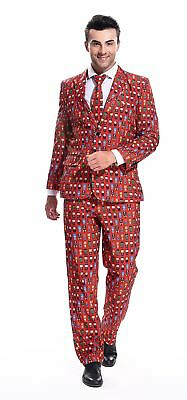 YOU LOOK UGLY TODAY Mens Christmas Costumes Funny Party Suit Jacket with Tie by