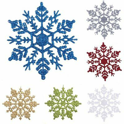 5/10x SNOWFLAKES CHRISTMAS TREE DECORATIONS DECORATION BAUBLES GLITTER HANG XMAS
