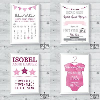 """Personalised Newborn New Born Baby Print Gift - Size 5x7"""" or a4 - GIRL"""