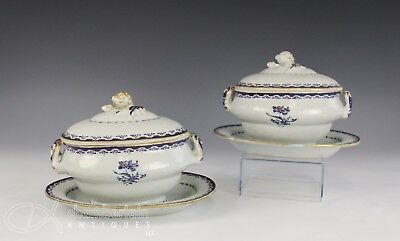 Pair Circa 1810 Antique Chinese Blue And Gilt Porcelain Sauce Tureens W Plates