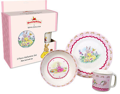 Royal Doulton Bunnykins 3 Piece Melamine Set Heart (Plate,bowl And Cup)