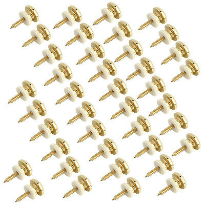 40Pcs Gold Metal Mushroom Head Electric Guitar Bass Head Strap Button Strap Lock