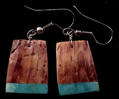 Santo Domingo Spiny Oyster Shell and Turquoise Dangle Earrings by Louise Pete