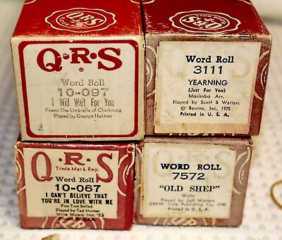 Antique QRS Player Piano Rolls - Set of Four