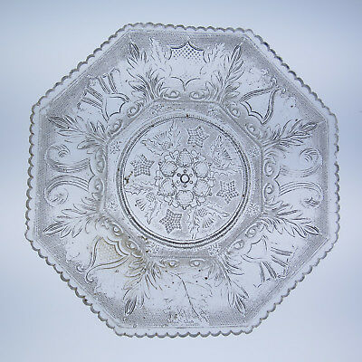 Boston and Sandwich Lacy Beehive & Thistle Plate Antique New England Flint Glass