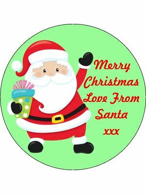 30-90 UNCUT PERSONALISED EDIBLE WAFER CUP CAKE TOPPERS CHRISTMAS PARTY SANTA