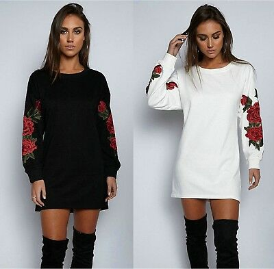 Womens Rose Sweatshirt Ladies Jumper Dress Pullover Tops Shirt Blouse Size 6-16