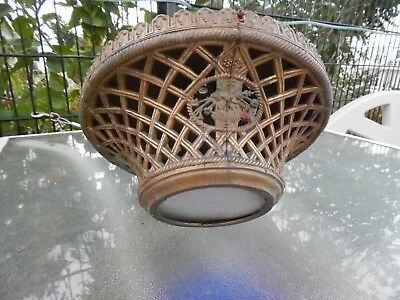 Vtg Cast Metal Ceiling Light Fixture Chandelier Art Deco steampunk victorian