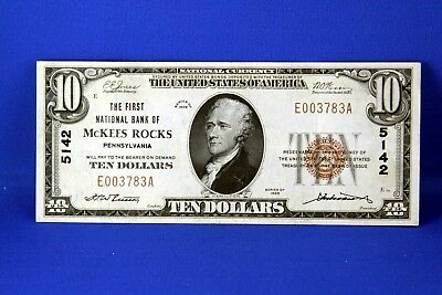 1929 $10.00 National Banknote First National Bank of McKees Rocks PA US note