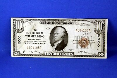 1929 $10.00 National Banknote First National Bank of Wilmerding  PA US note