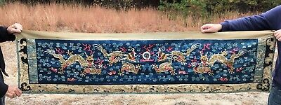 Antique Chinese Textile Wall Hanging With Dragons And Clouds