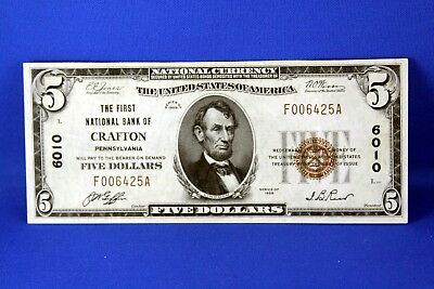 1929 $5.00 National Banknote First National Bank of Crafton PA, US note