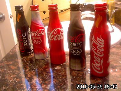 2010 Coca Cola Vancouver Olympic Aluminum 5 Full bottles Set Rare -- Limited Ed