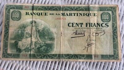 MARTINIQUE 1900's FRENCH COLONIAL 100 FRANCS CIRCULATED BANK NOTE PAPER CURRENCY