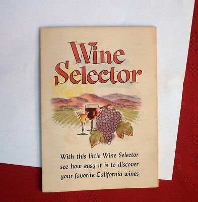 Collectible Vintage 1957 CALIFORNIA WINES, Wine Selector Recipe Pamphlet