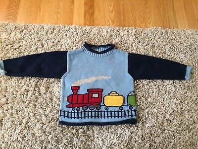 Mulberribush 100% hand loomed Cotton Boys train Sweater Knitted 3T EEUC