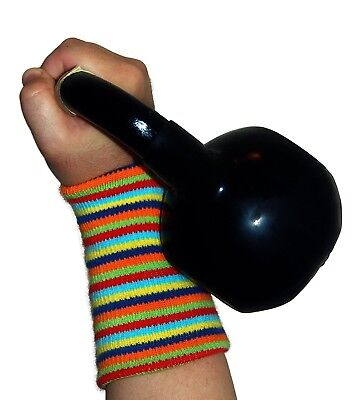 (Rainbow) - Cotton Kettlebell Wrist Protective Pads - Unisex (One Size Fits