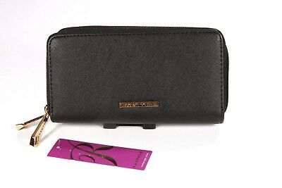 New Rampage Black Double Zip Around Clutch Wallet