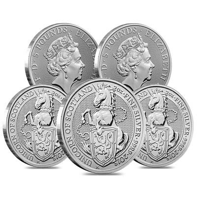 Lot of 5 - 2018 Great Britain 2 oz Silver Queen's Beasts Unicorn Coin BU