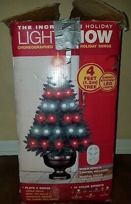 Gemmy Incredible Holiday Light Show 4Ft Christmas Tree Remote & Music Box